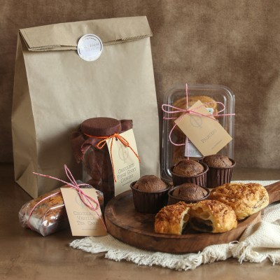 Chocolate Croissants(2pcs) ,Chocolate Fudge Gooey Cookies, Choco -chip Vanilla cake, Chocolate muffins(4pcs),Palmiers