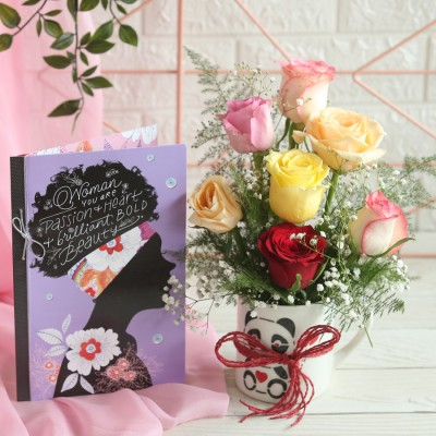 Arrangement of Mix Roses in a mug with a Card