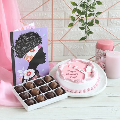 Women's day Photo cake Box of 12 Chocolate pralines & Greeting card