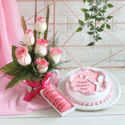Women's day Photo cake, Box of 5 Rose Macarons , Arrangement of Jumelias in a mug