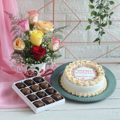 Women's day  Yellow Photo cake, Box of 12 Chocolate pralines, Arrangement of mix Roses in a mug