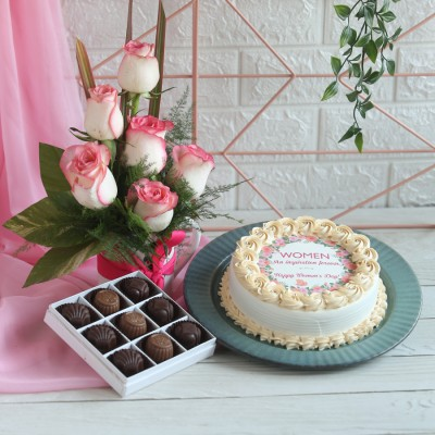 Women's day Photo cake, Box of 9 pralines , Arrangement of Jumelia's in a mug