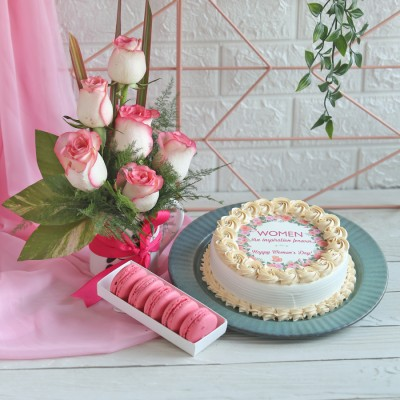 Women's day Photo cake, Box of 5 Macarons , Arrangement of Jumelia's in a mug