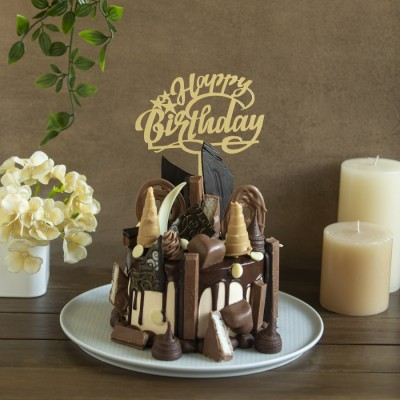 Overindulgent Chocolate overloaded cake 900gms with happy Birthday Topper