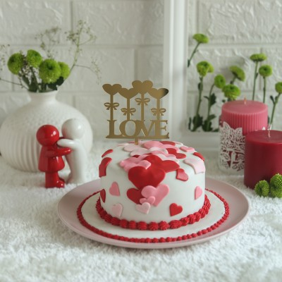 Valentines Day cake 750gms with red and pink hearts and love  hearts topper