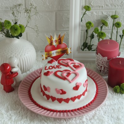 Valentines Day Love Hearts Cake 750gms with King of my heart topper