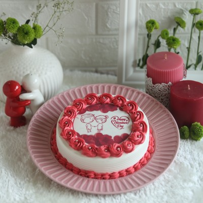 Valentines Day Cute  red and white photo cake 500gms