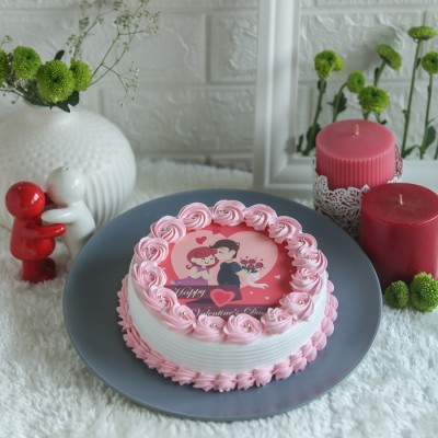 Valentines Day pink photo cake 500gms