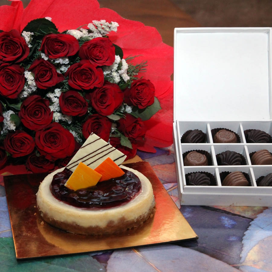 Baked cherry cheese cake 750gms ,Red hand bouquet and Box of 9 chocolate pralines