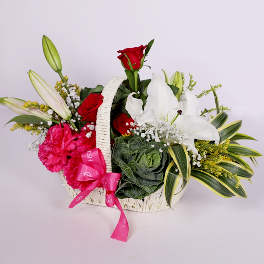 Basket of Lilies, Carnation and Brassica