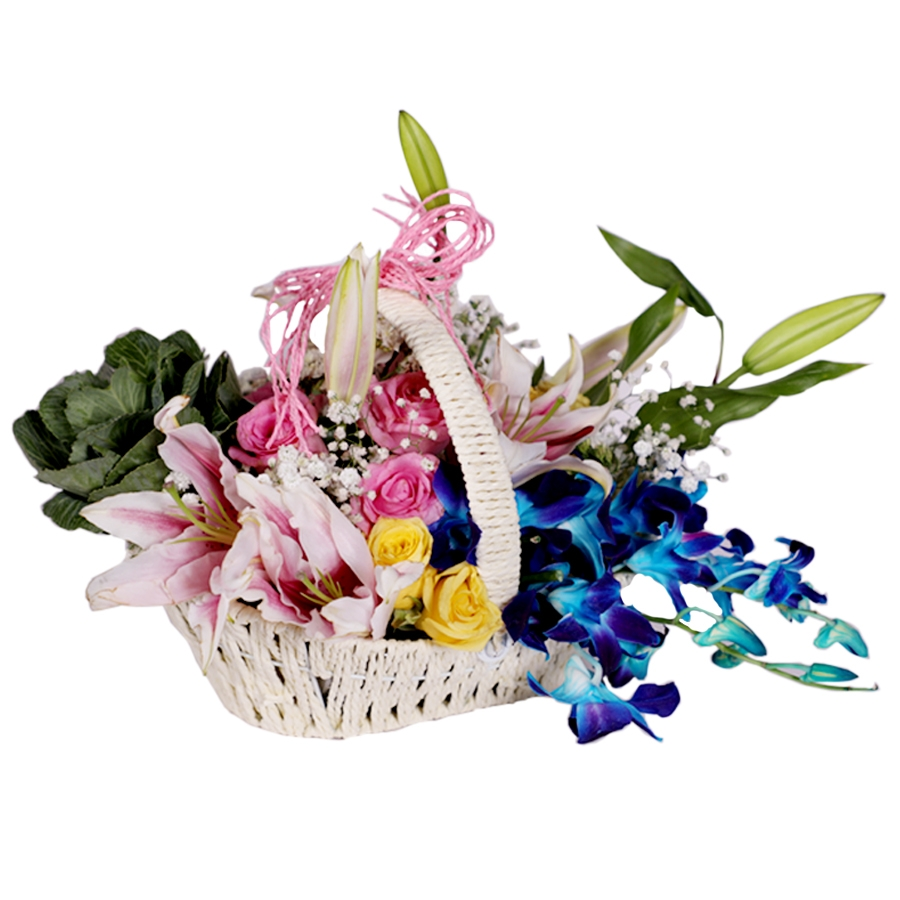 Basket of Orchid ,Lilies and Brassica