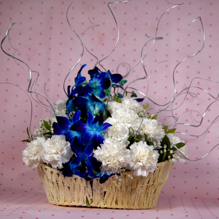 Basket of white caranations & orchids