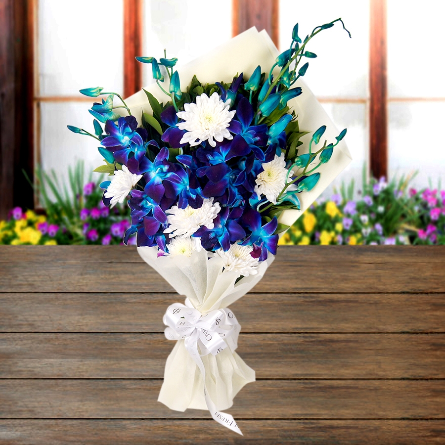 Stars in the Sky (white flowers and Blue  orchid bouquet)
