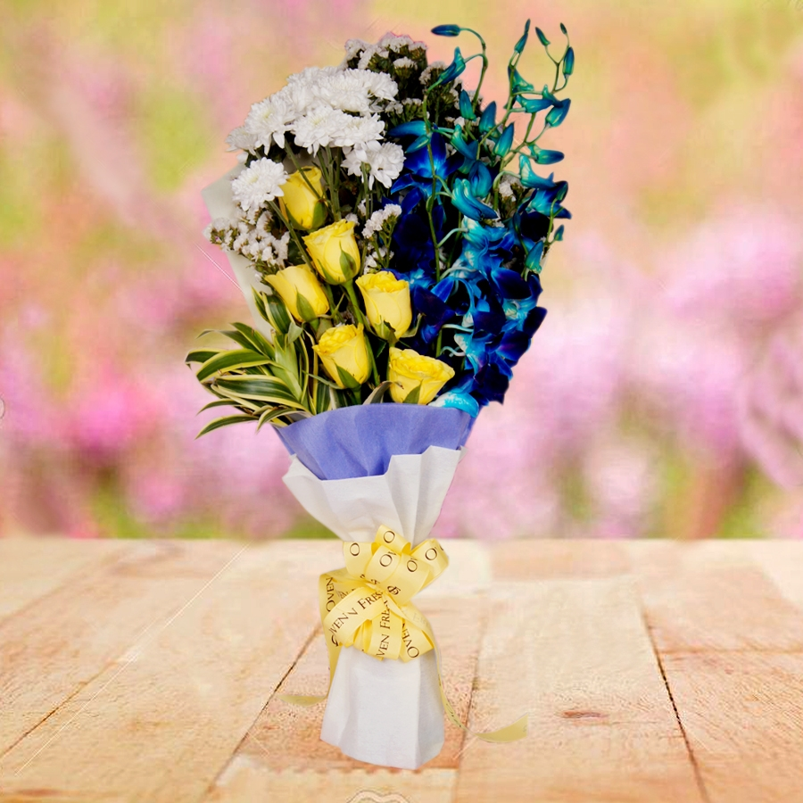 Sunset Rays (blue orchid and yellow rose)