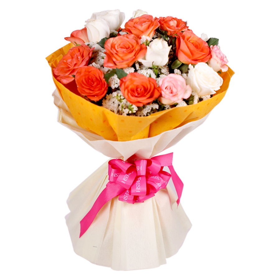 Bouquet of Orange and White Roses