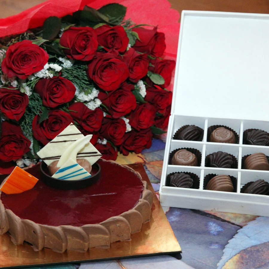 Chocolate crousillant 500gms,Red hand bouquet and Box of 9 chocolate pralines