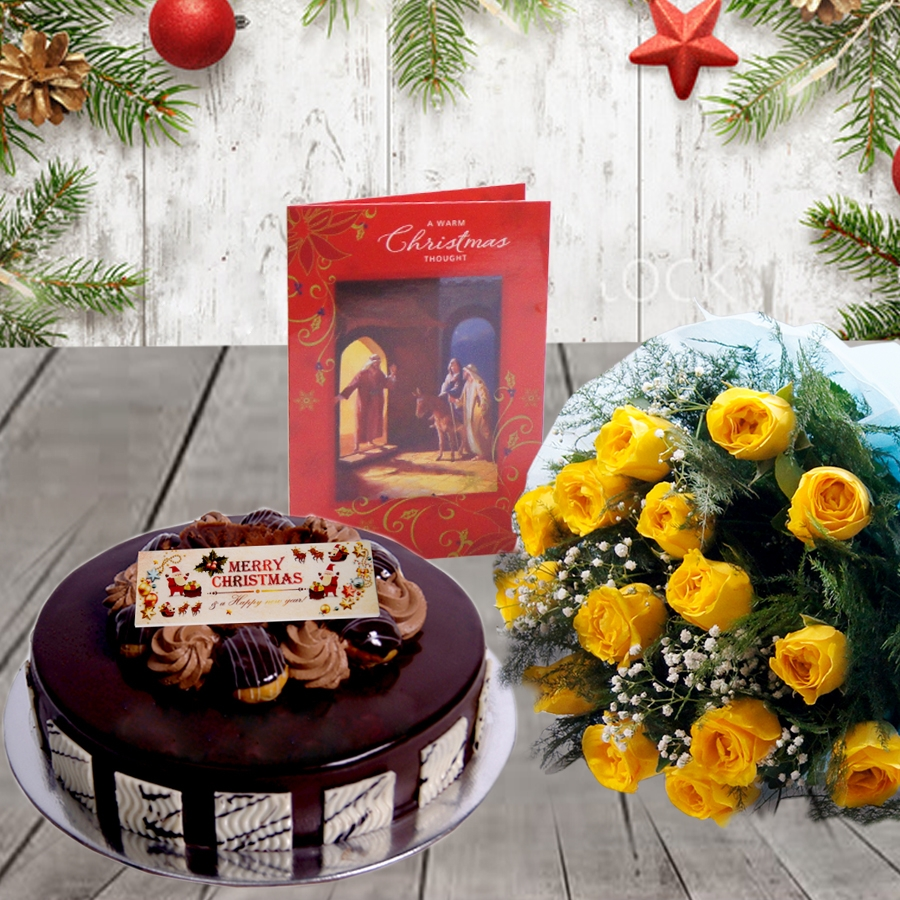 Christmas Chocolate dutch truffle Choux bun cake 500gms and bouquet of 12 yellow roses with christmas card