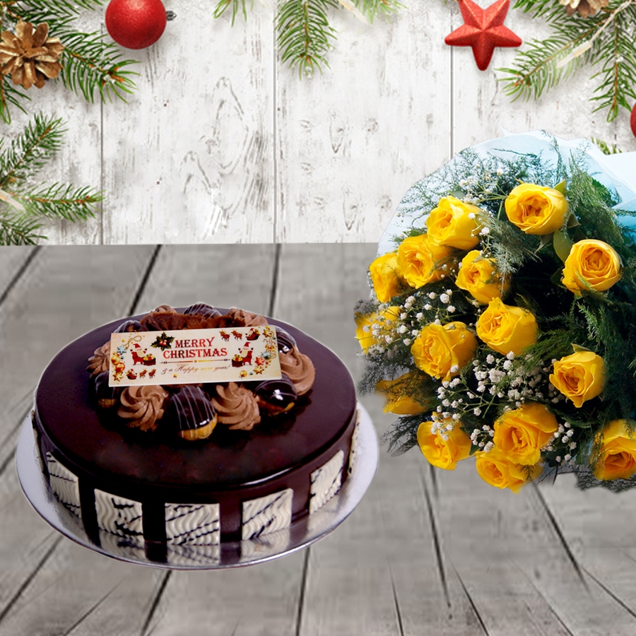 Christmas Chocolate dutch truffle Choux bun cake 500gms and bouquet of 12 yellow roses