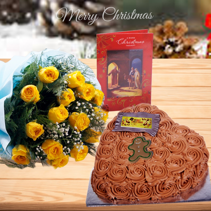 Christmas Chocolate dutch truffle heart shape swirls cake 500gms ,bouquet of 12 yellow roses and christmas card