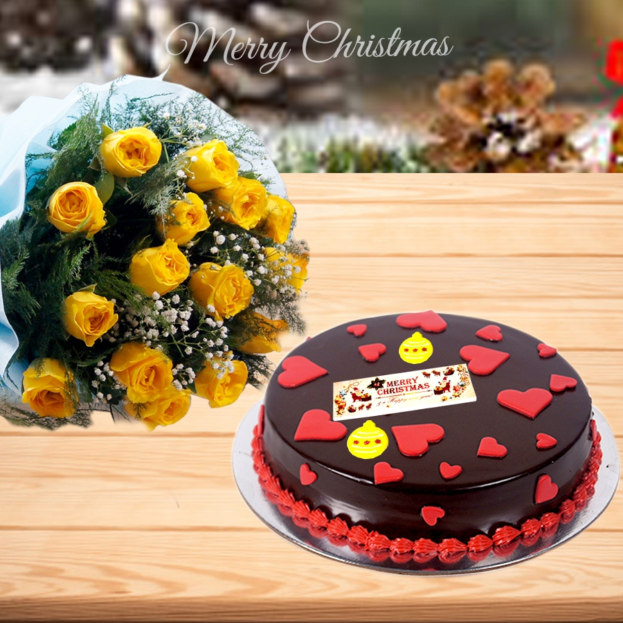 Christmas dutch truffle love cake 500gms and bouquet of 12 yellow roses