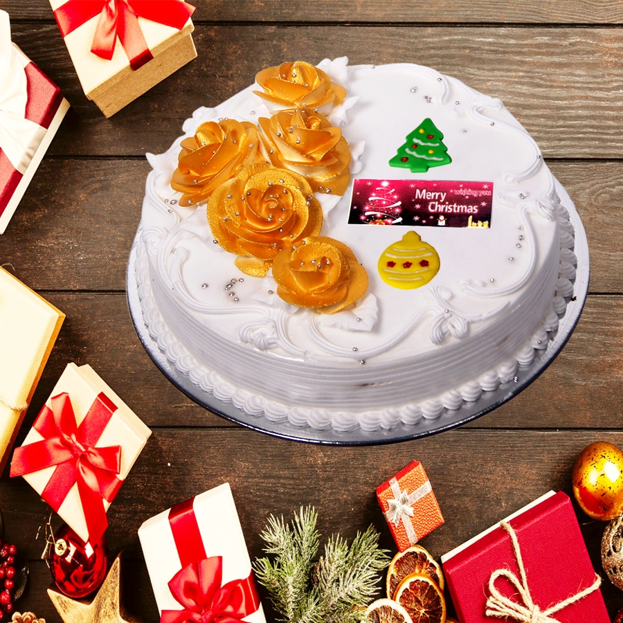 Christmas Floral Gold & white cake 500gms