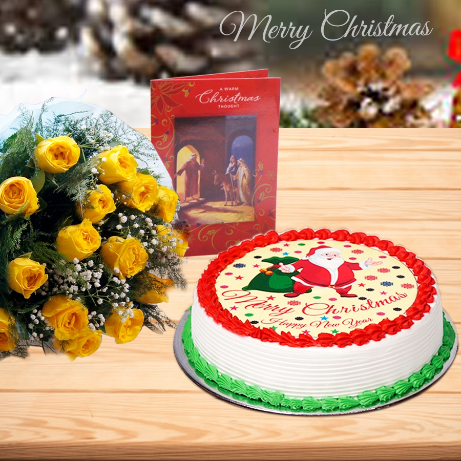 Christmas Santa yellow cake 500gms and ,bouquet of 12 yellow roses and christmas card