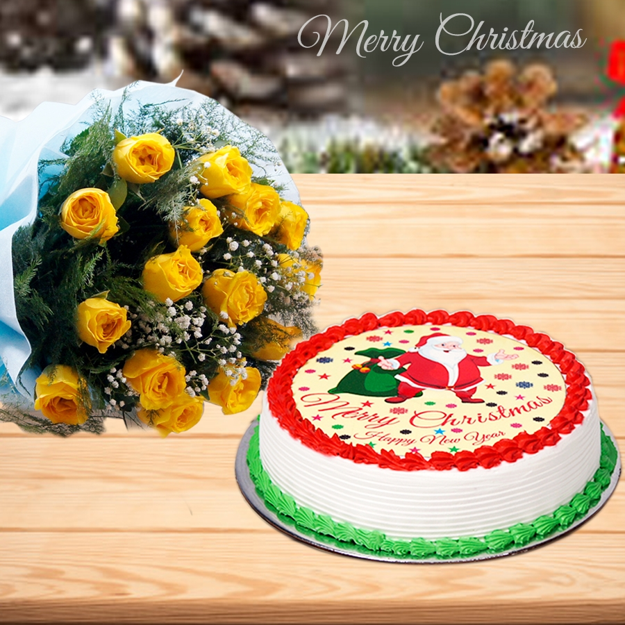 Christmas Santa yellow cake 500gms and ,bouquet of 12 yellow roses