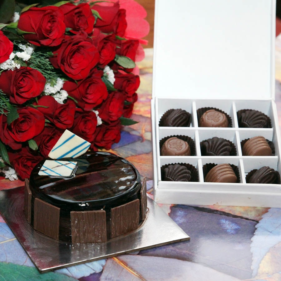 Dutch Truffle- 250 gms,red hand bouquet and box  of  9 chocolate pralines