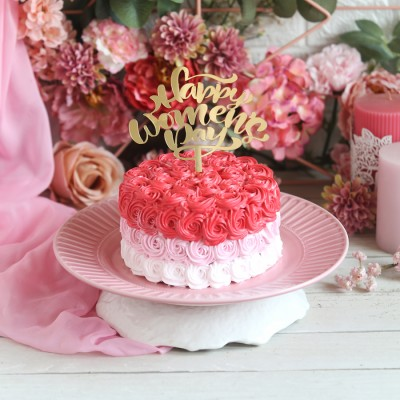 Shaded Pink Rosette cake 750gms with a Happy  Womens day topper