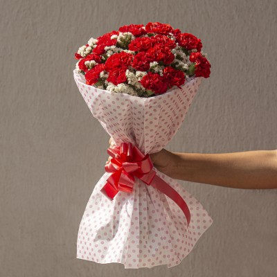Hand Bouquet of 20 Red Carnation and Limoniums