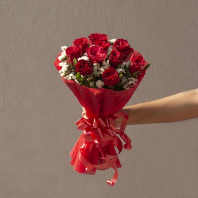 Hand Bouquet of 10 Red roses