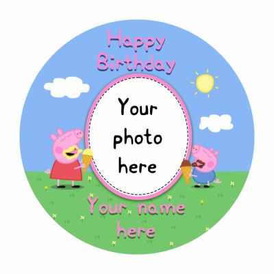 Peppa Pig Personalized Photo Cake 500gms