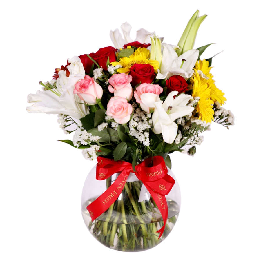 Round Vase with assorted roses, gerbera & lillies