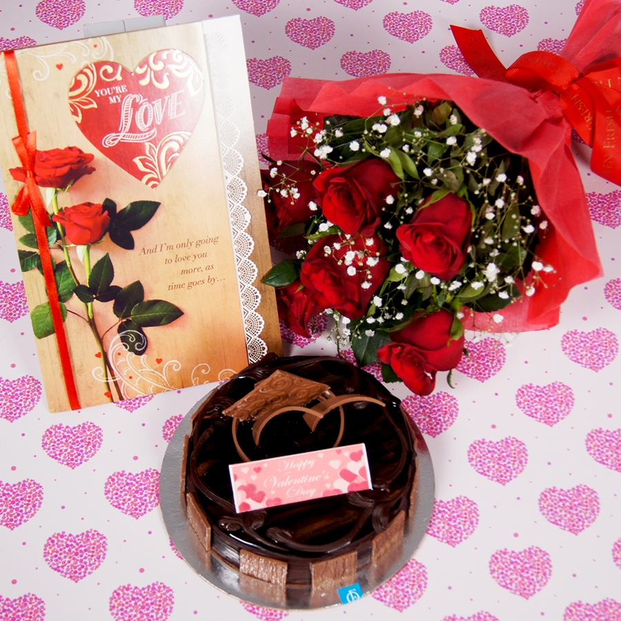 Valentines day Card with Dutch Truffle cake 500gms and small 6 red roses bouquet