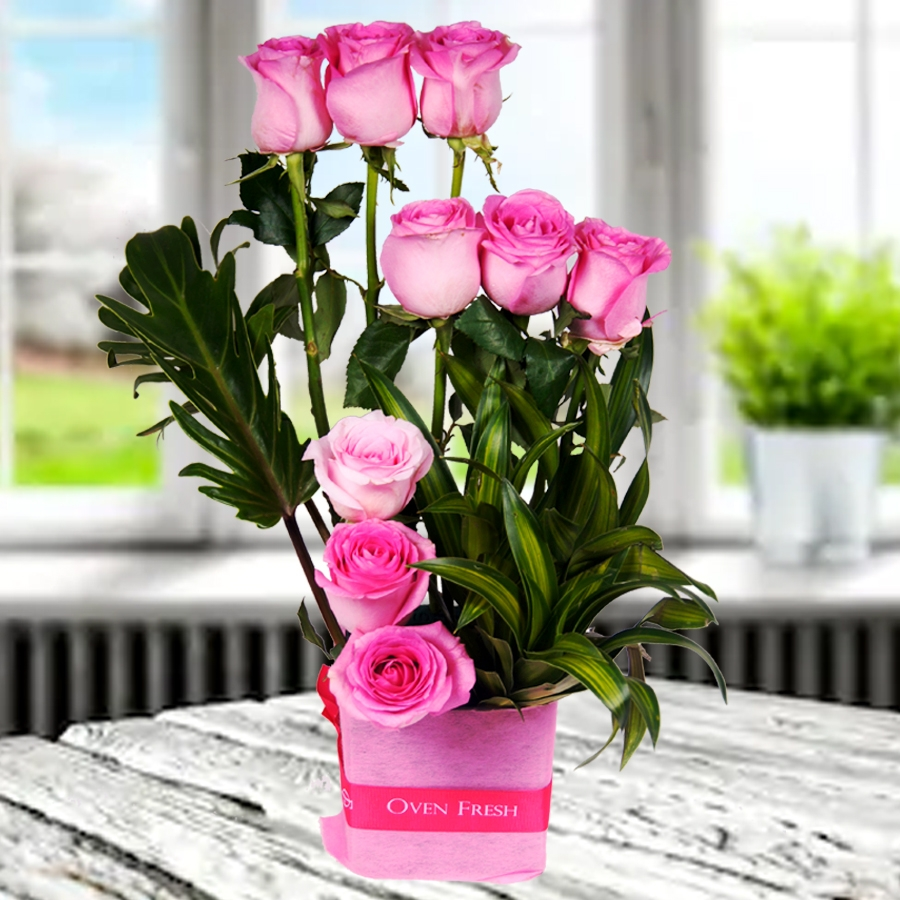 Sweet Song of Love (Vase of pink roses)