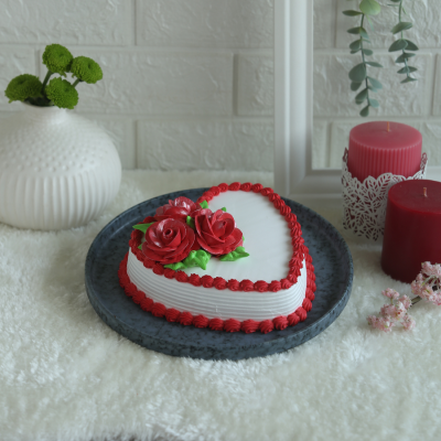 Valentine's day Red and white Heart  Shape Cake