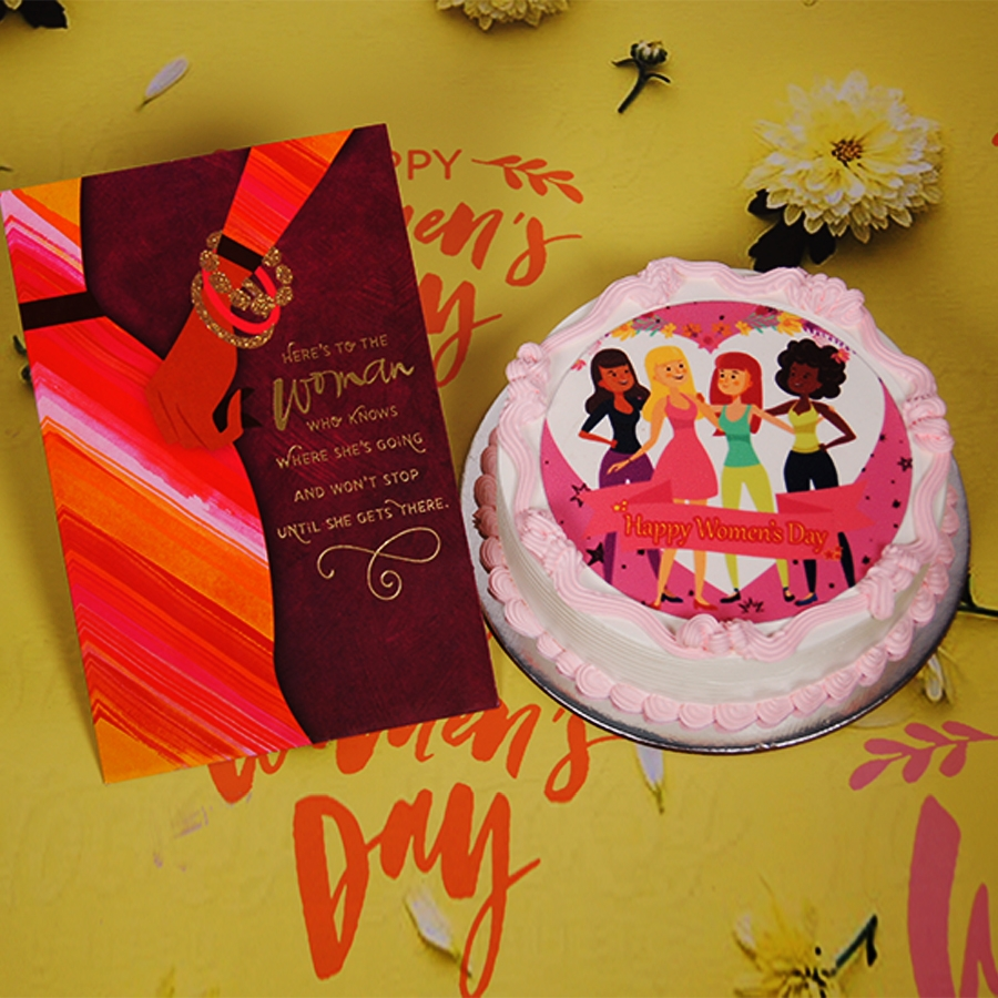 Womens day Beauty photo cake  500gms With Card.