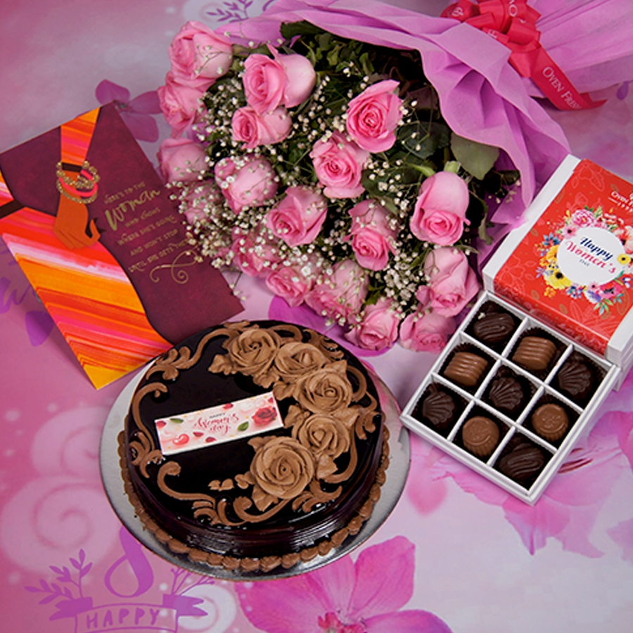 Womens Day Chocolate dutch truffle birthday cake 500gms With Card & Bouquet of Pink Flower & 9 Box Chocolate Pralines