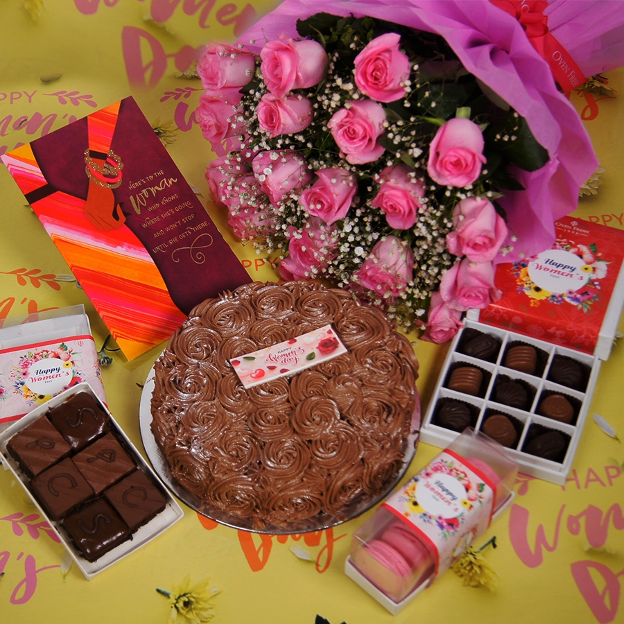 Womens day Chocolate dutch truffle swirls 500gms with card , Bouquet of pink roses,box of 9 chocolate pralines,box of 6 pc brownies,box of 5 macaroons