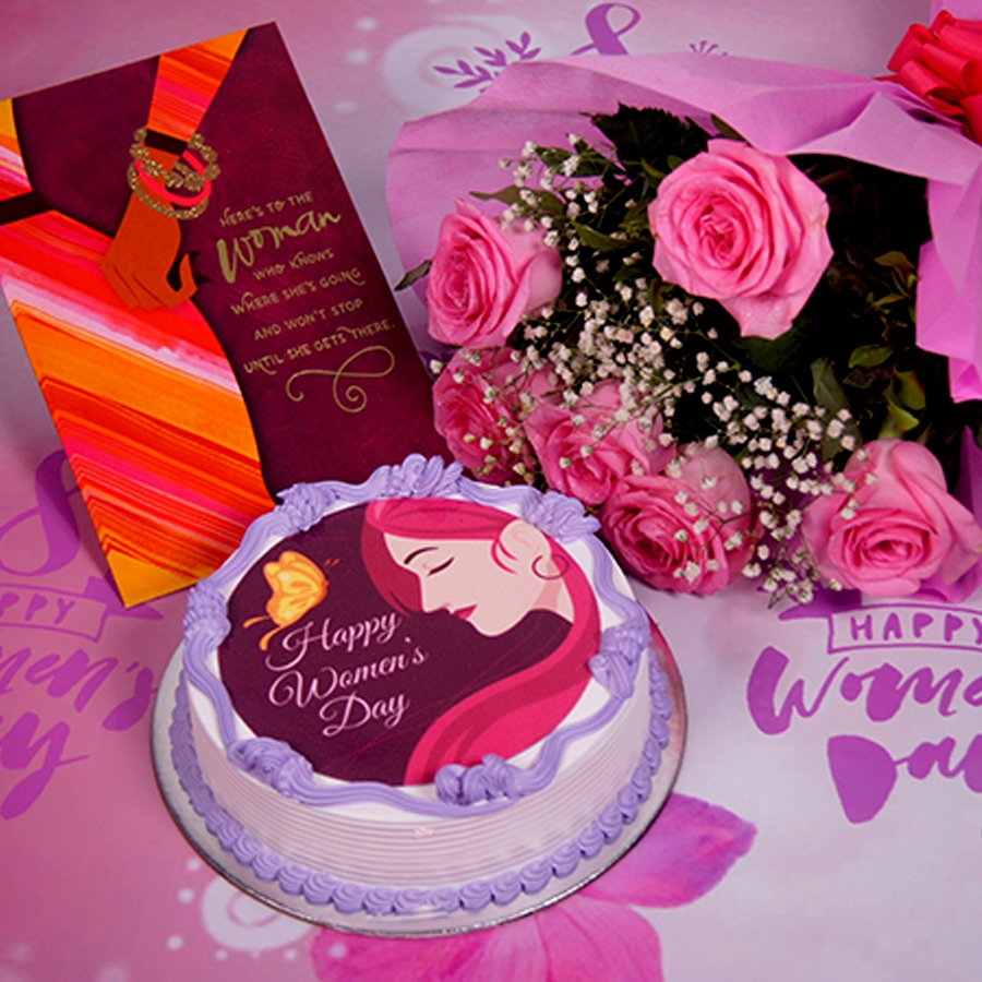 Womens day purple photo cake 500gms with card ,Bouquet of 6 Pink roses .
