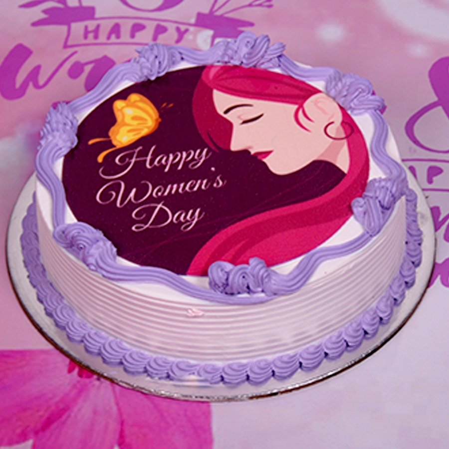 Womens day purple and pink photo cake