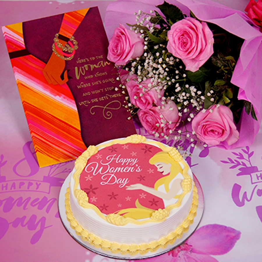 Womens day red  and yellow photo cake 500gms with card ,Bouquet of 6 Pink roses .