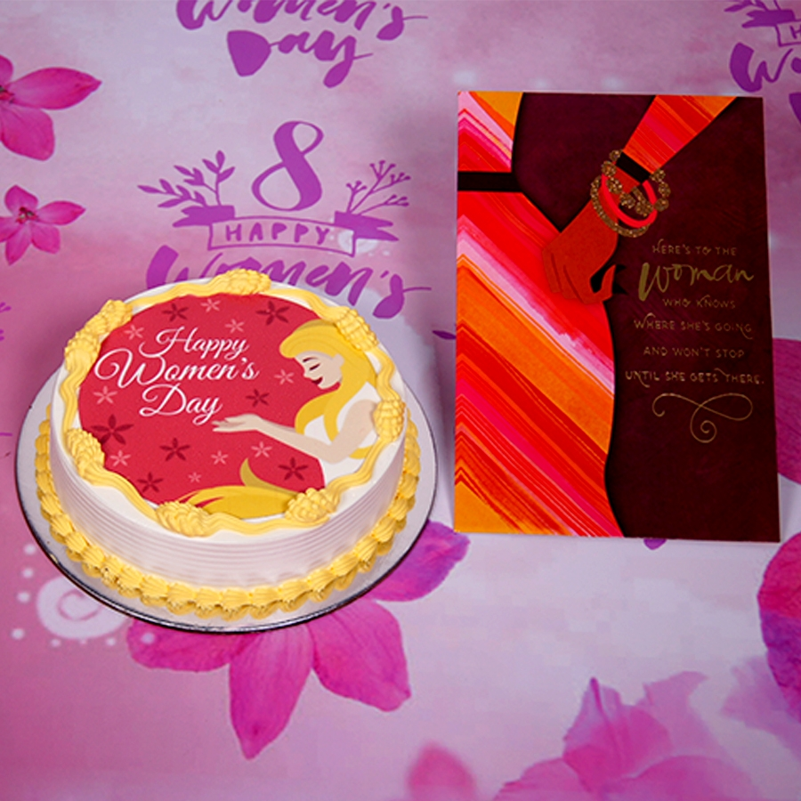 Womens day red  and yellow photo cake 500gms with cards